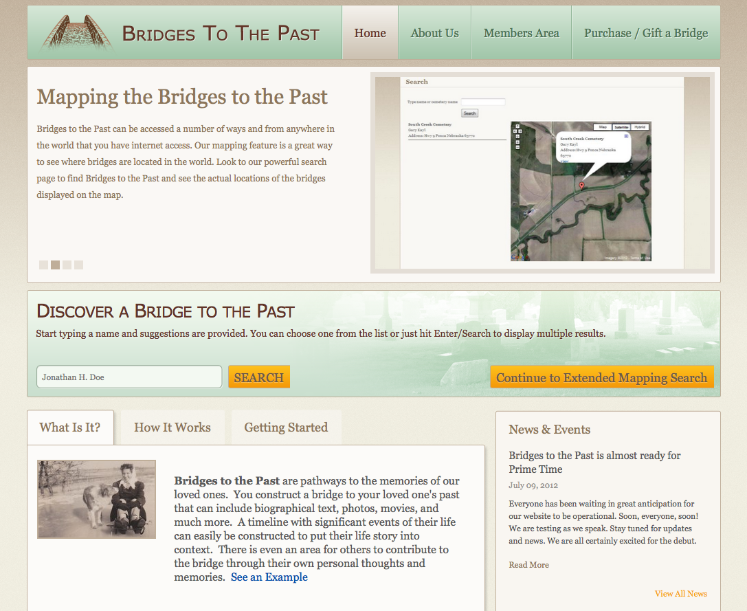 WEBSITE LAUNCH - Bridges to the Past