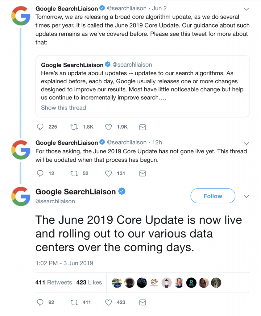 The June 2019 Core Update is now live and rolling out to our various data centers over the coming days.