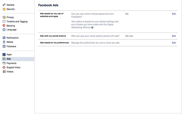 Facebook Security - Disabling Ads