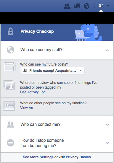 Facbook Security Checkup - Who Can See My Stuff