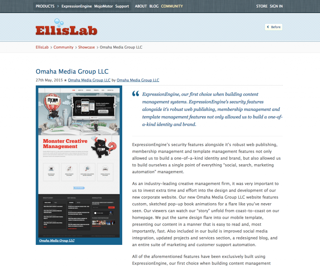 Omaha Media Group Featured on EllisLab Community Showcase
