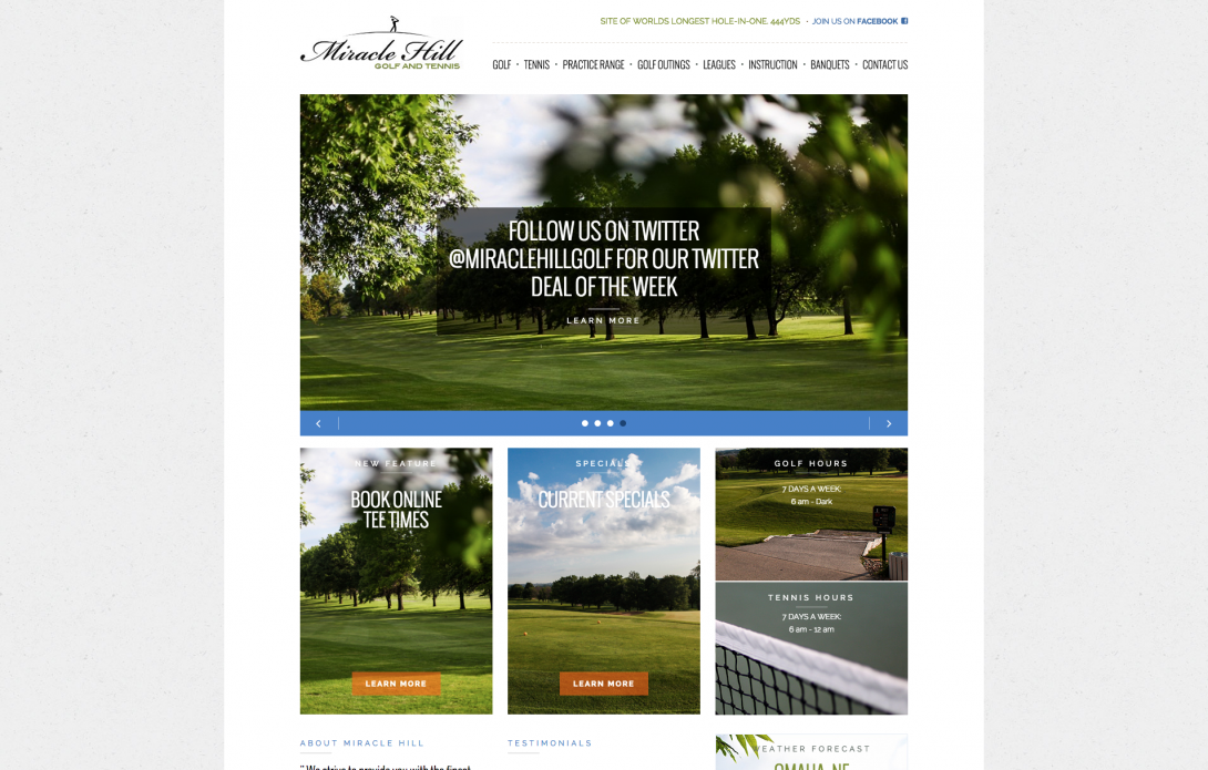 Miracle Hill Golf + Tennis Center - Website & Logo Design, v2.0 - 1