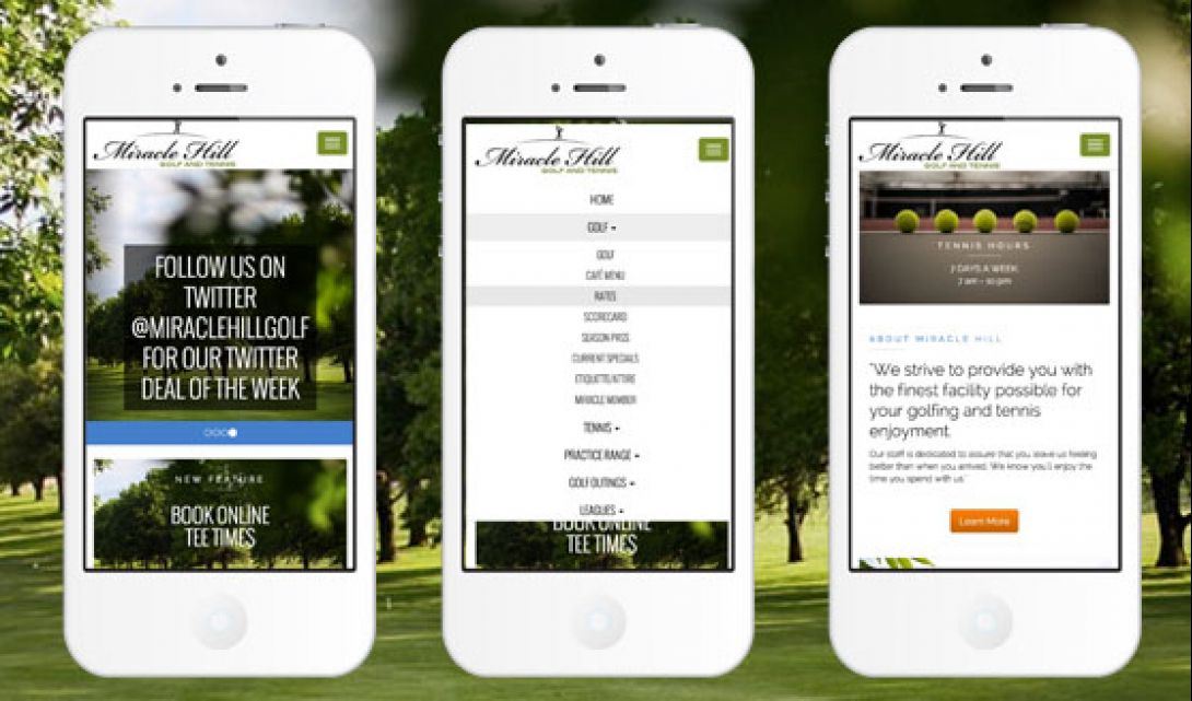 Miracle Hill Golf + Tennis Center - Mobile Site Design - 1